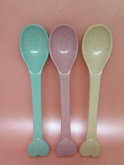3pc/set Plastic Baby Feeding kids toddler spoon Portable Reu