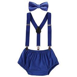 3PCS Baby Boys Cake Smash Clothes Diaper Suspenders Pants Bo