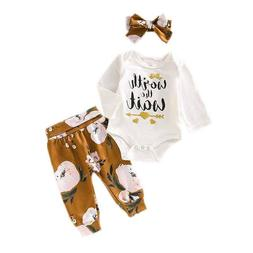 3PCS Toddler Baby Girls Clothing Tops+Pants+Bow T-Shirt Casu