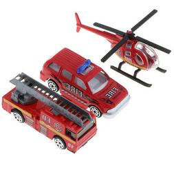 3x Alloy Fire Engine Vehicle Toy 1/64 Truck Car for Kids Tod