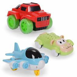 3x/Set Baby Push and Go Cartoon Car Flash Light Toddler Toys