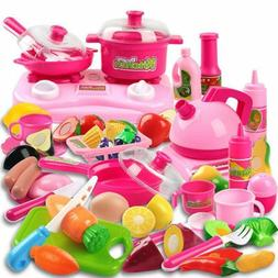 42 Piece Kitchen Cooking Set Fruit Vegetable Tea Playset Toy
