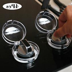 4Pcs/Set Universal Oven & Stove Knob Covers Clear View Child
