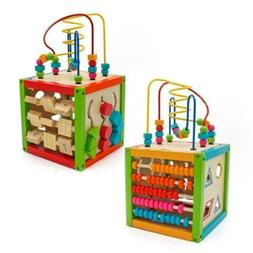 5 in 1 Wooden Learning Bead Maze Cube Activity Center Funny