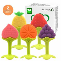 5 Pack Fruit Baby Teething Toys with Pacifier Clip for Toddl