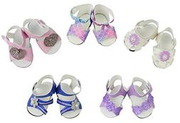 ZITA ELEMENT 5 Pairs of Shoes for American Girl Doll & Baby
