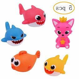 5 PCS Baby Kids Bath Squeezed Fish Shark Toy Family Child Sh