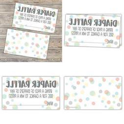 50 Sweet Dot Diaper Raffle Tickets For Baby Shower Invitatio