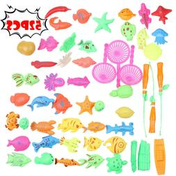 52Pcs Child Fishing Magnetic Toys Water Play Floating Fishin