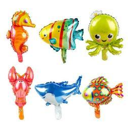 5Pcs Cute Ocean Octopus Shark Fish Foil Balloons Birthday Pa