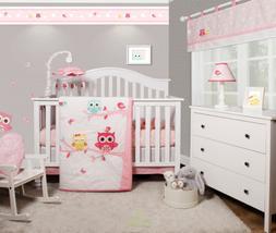 6-Piece Enchanted Owls Family Baby Girl Nursery Crib Bedding