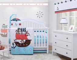 6-Piece My Little Pirates Blue Baby Boy Nursery Crib Bedding