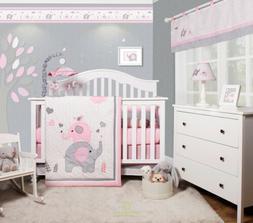 6-Piece Pink Grey Elephant Baby Girl Nursery Crib Bedding Se
