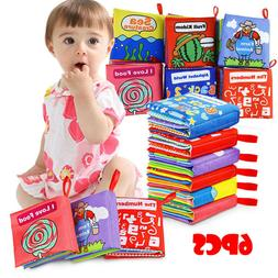 6PCS Cloth Books Baby My First Non-Toxic Soft Clothing Book