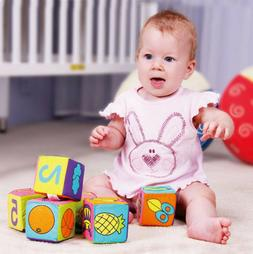6 in 1 Set New Infant Baby Cloth Soft Rattle Building Blocks