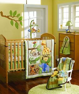 7 Piece ZOO Animals Style Boy Baby Nursery Crib Bedding Set