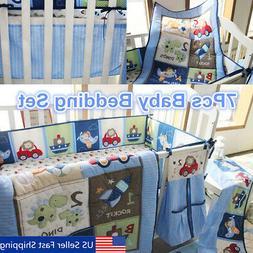 7Pcs Blue Baby Boy Bedding Crib Cot Set Nursery Quilt Bumper