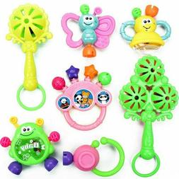 7PC Newborn Toddler Baby Shaking Bell Rattles Teether Kids H