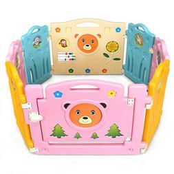 8 Panel Kids Baby Playpen Activity Center Safety Play Yard H