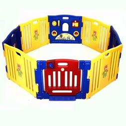 8 Panel Safety Play Center Yard Baby Playpen Kids Home Indoo