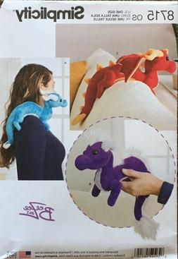 Simplicity 8715    Stuffed Dragons  3 Styles  BeeZee Art Des