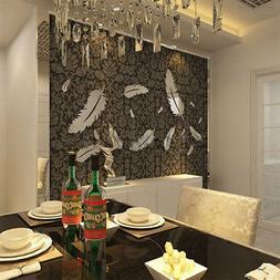 8pcs Feather Designed 3D Mirror Kid Baby Bedroom Livingroom