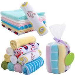 8Pcs Infant Newborn Baby Soft Bath Towel Washcloth Feeding W
