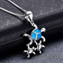 925 Silver Mom & Baby Turtle Blue Fire Opal Pendant Necklace