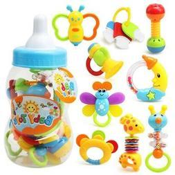 9pcs Newborn Baby Toys Rattles Teether Bottle Gift Set Infan