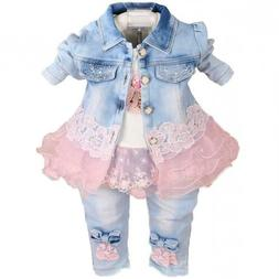 Baby Girls Denim Clothing Sets 3 PC T Shirt Jacket & Jeans 6