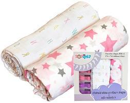 Best Organic Cotton Muslin Swaddle Blanket Set for Girls, 2