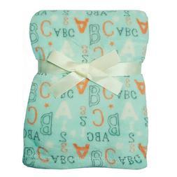 Baby Gear ABC/123 Print Plush Blanket Lt Green/Gray/Lt Orang
