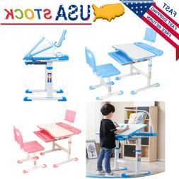 Adjustable Blue/Pink Children's Study Desk Table Chair Set C