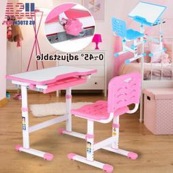 Adjustable Children's Desk Chair Set Child Study Desk Kids S
