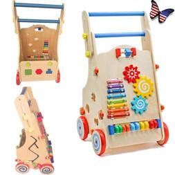 Adjustable Wooden Baby Walker Toddler Toys with Multiple Act