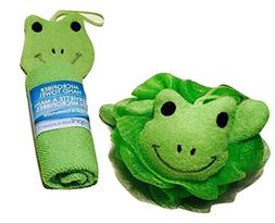 Adorable Green Frog Novelty Wash Cloths and Sponge Scrubbies