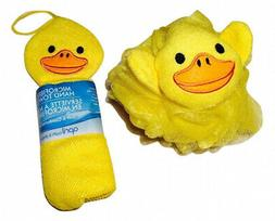 Adorable Yellow Ducky Novelty Wash Cloth and Sponge Scrubbie