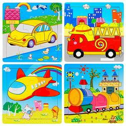 Animals Vehicles Wooden 9 Pieces Jigsaw Puzzle Toy for Presc