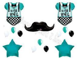 Aqua BABY BOY MUSTACHE BODYSUIT shower Balloons Decoration S