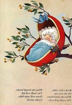 Art Print on Silk Vintage Nursery Rhyme Rock a bye baby in t