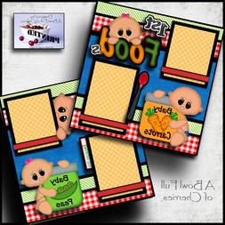 BABY 1st FOODS ~ 2 premade scrapbook pages paper printed  bo