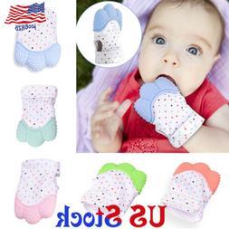 Baby Anti-bite Teether Gloves Silicone Teething Mitt Mitten