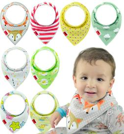 Baby Bandana Drool Bibs for Boys & Girls Unisex 8-Pack Gift
