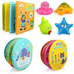 Baby Toys 3 Pack Bath Books with Squirt Toys Soft Waterproof