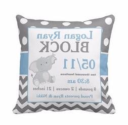 Baby Birth Date Custom Personalized Pillow Cover Home Nurser