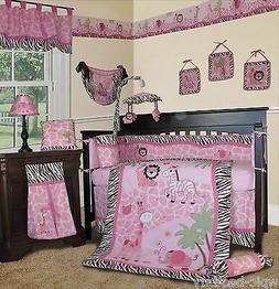 Baby Boutique - Pink Safari - 15 pcs Nursery Crib Bedding Se