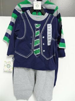 Little Me Baby Boy 4 Piece Daycare Sets Tie 12 Months Blue/G