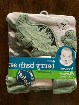 Gerber Baby Boy Hooded Towel Washcloths 4 Piece Bath Set Cot