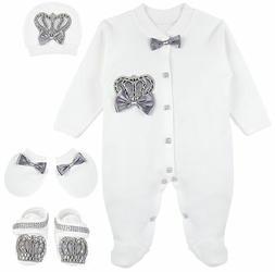 Lilax Baby Boy Jewels Crown Layette 4 Piece Gift Set 3-6 M G