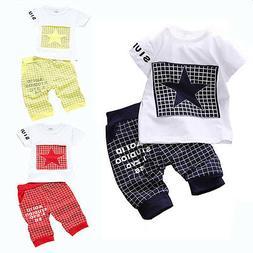 Baby boy kids summer clothes sets clothing set Star Printed